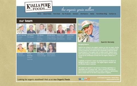 Screenshot of Team Page kiallafoods.com.au - our team - Kialla Pure Foods - captured Oct. 6, 2014
