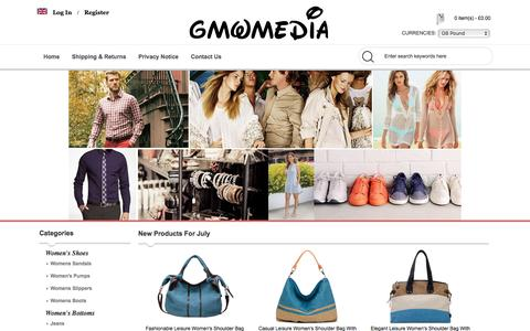 Screenshot of Home Page gmwmedia.co.uk - Online Shopping, Exclusive Clothes, Shoes, Handbags Men And Women. - captured July 10, 2016