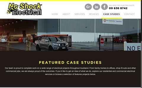 Screenshot of Case Studies Page noshock.co.nz - Case Studies – No Shock Electrical - captured Oct. 19, 2018