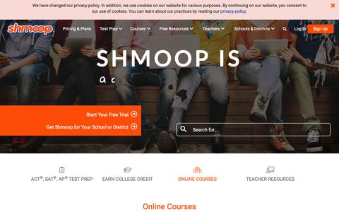 Screenshot of Home Page shmoop.com - Shmoop: Homework Help, Teacher Resources, Test Prep - captured May 18, 2019