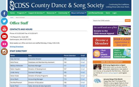 Screenshot of About Page cdss.org - About Us/Contact - Country Dance & Song Society - captured Feb. 20, 2018