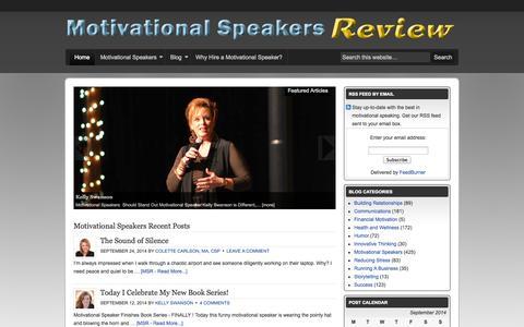Screenshot of Home Page motivational-speakers-review.com - Motivational Speakers Review - Motivational Speaker Profiles and Blog - captured Sept. 25, 2014