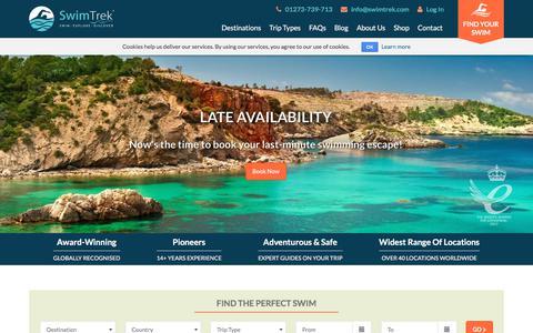 Screenshot of Home Page swimtrek.com - Adventure Swimming Holidays   SwimTrek - captured Oct. 26, 2017
