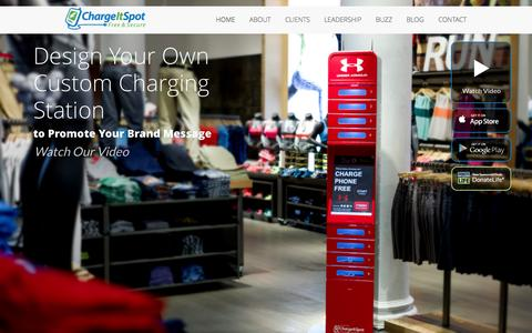 Screenshot of Home Page chargeitspot.com - Cell Phone Charging Stations & Kiosks | ChargeItSpot - captured July 16, 2015