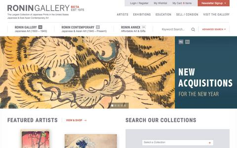 Screenshot of Home Page roningallery.com - Japanese & East Asian Contemporary Art | Ronin Gallery - captured Jan. 11, 2016