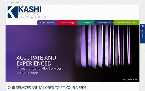 Screenshot of Home Page kashilab.com - Home - Kashi Clinical Laboratories - captured Jan. 25, 2015