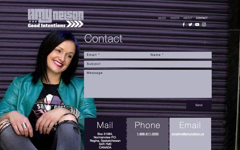 Screenshot of Contact Page amynelson.ca - Amynelson | CONTACT - captured Oct. 3, 2018