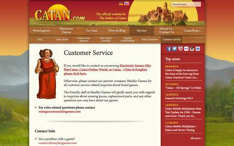 Screenshot of Support Page catan.com - Customer Service  | Catan.com - captured Sept. 25, 2014