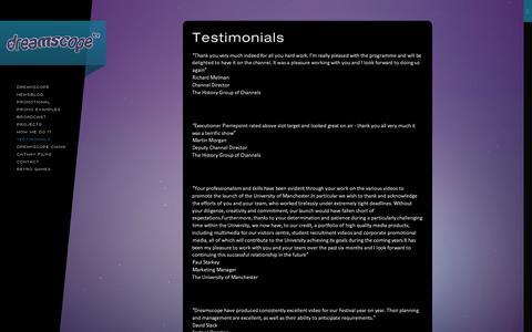 Screenshot of Testimonials Page dreamscope.tv - Testimonials - captured Oct. 5, 2014