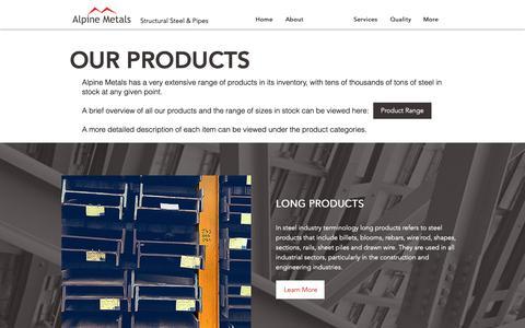 Screenshot of Products Page alpinemetalsdubai.com - Products | Alpine Metals - captured Oct. 3, 2018