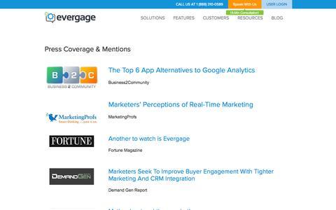 Screenshot of Press Page evergage.com - Evergage   –  Press - captured Sept. 13, 2014