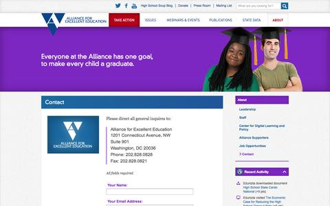 Screenshot of Contact Page all4ed.org - Contact | Alliance For Excellent Education - captured Oct. 4, 2014