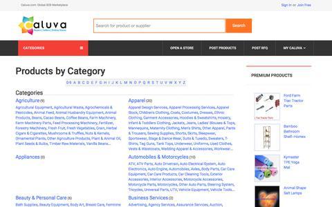 Screenshot of Products Page caluva.com - Products - Caluva.com - captured July 12, 2017