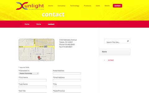 Screenshot of Contact Page xunlight.com - contact - Xunlight - captured Sept. 17, 2014