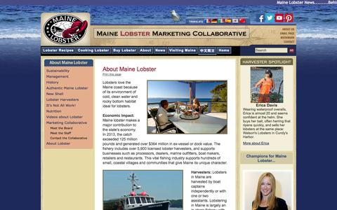 Screenshot of About Page lobsterfrommaine.com - Maine Lobster, Maine Lobster Council, Lobster News - captured Nov. 1, 2014