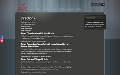 Screenshot of Maps & Directions Page cantoncatering.com - Directions | The Executive Event Center | AA Executive Catering - 330-477-8588 - captured Oct. 3, 2014