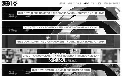 Screenshot of Press Page nickyromero.com - Nicky Romero | News - captured Nov. 26, 2017