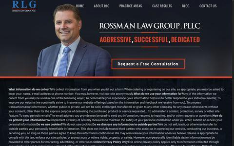 Screenshot of Privacy Page rossmanlaw.com - Privacy Policy | Rossman Law - captured Feb. 15, 2016