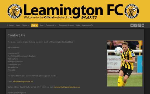 Screenshot of Contact Page leamingtonfc.co.uk - LeamingtonFC.co.uk - Contact Us - captured Sept. 27, 2018