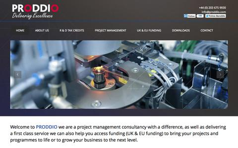 Screenshot of Home Page proddio.com - PRODDIO   Project and Programme Management   Research and Development Tax Credits   IT Solutions - captured Sept. 26, 2014