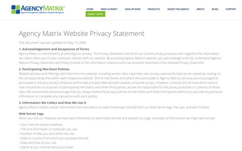 Screenshot of Privacy Page agencymatrix.com - Privacy Policy for Website | Software Privacy | Agency Matrix - captured July 29, 2018
