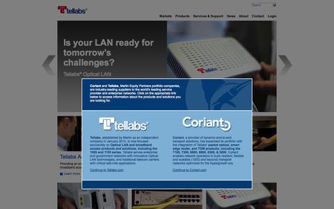 Screenshot of Press Page wichorus.com - Tellabs | Optical LAN Networks | Telecom Access Networks - captured Oct. 25, 2014