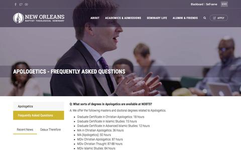 Screenshot of FAQ Page nobts.edu - NOBTS - Apologetics - Frequently Asked Questions - captured Jan. 21, 2017