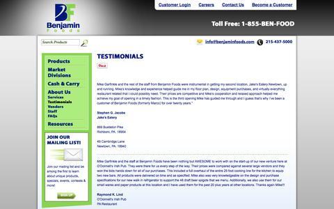 Screenshot of Testimonials Page benjaminfoods.com - Let Us Hear Your Testimonial| Benjamin Foods | Benjamin Foods - captured Sept. 30, 2014
