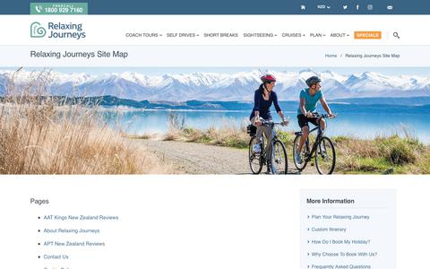 Screenshot of Site Map Page relaxingjourneys.co.nz - Relaxing Journeys Site Map - captured Oct. 20, 2018