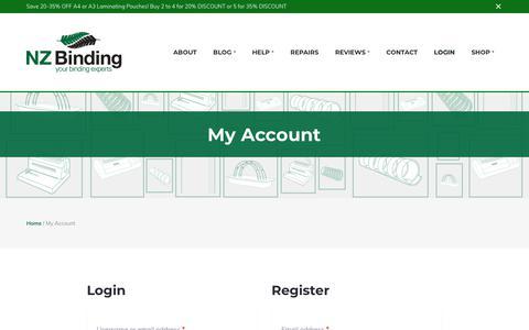 Screenshot of Login Page nzbinding.com - My Account | Binding Machines and Supplies Auckland - captured Sept. 21, 2018
