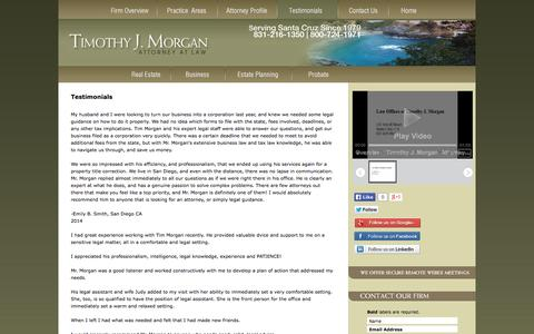 Screenshot of Testimonials Page timothyjmorgan.com - Testimonials | Timothy J. Morgan, Attorney at Law | - captured Oct. 7, 2014