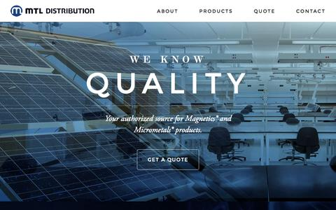 Screenshot of Home Page mtldistribution.com - MTL – Magnetics Distribution - captured July 21, 2016