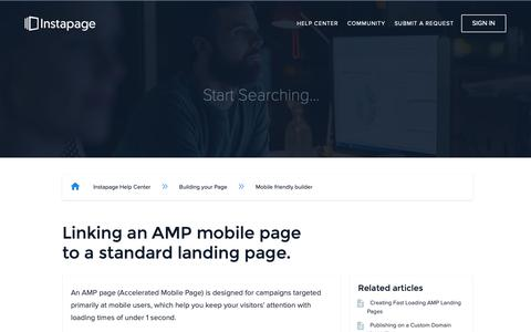 Screenshot of Support Page instapage.com - Linking an AMP mobile page to a standard landing page. – Instapage Help Center - captured Nov. 9, 2018