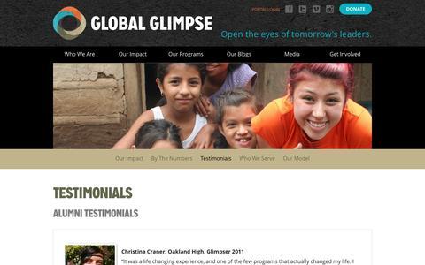 Screenshot of Testimonials Page globalglimpse.org - Testimonials | Global Glimpse - captured July 14, 2016