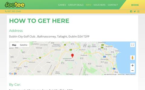 Screenshot of FAQ Page Maps & Directions Page footee.ie - Info – Footee – Footgolf in Dublin - captured Sept. 6, 2018