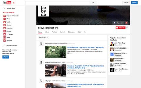 Screenshot of YouTube Page youtube.com - bebyneproductions  - YouTube - captured Oct. 23, 2014