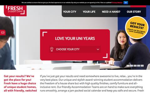 Screenshot of Home Page freshstudentliving.co.uk - Student Accommodation   Student Rooms & Housing - Fresh Student Living - captured Aug. 23, 2018