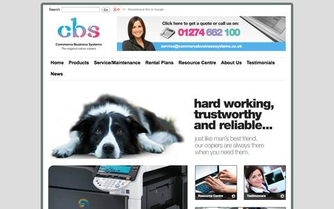Screenshot of Home Page commercebusinesssystems.co.uk - Commerce Business Systems | Office Printers | Photocopiers Bradford - captured Oct. 2, 2014