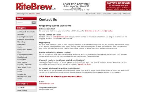 Screenshot of About Page Contact Page ritebrew.com - Contact Us - captured June 3, 2016