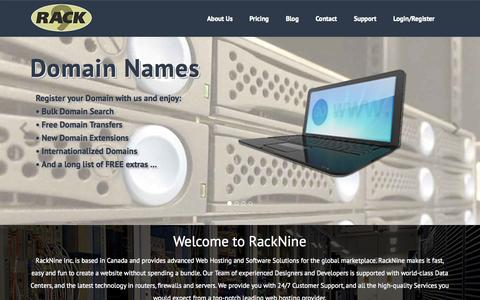 Screenshot of Contact Page Pricing Page racknine.com - Home | RackNine - captured Oct. 25, 2014