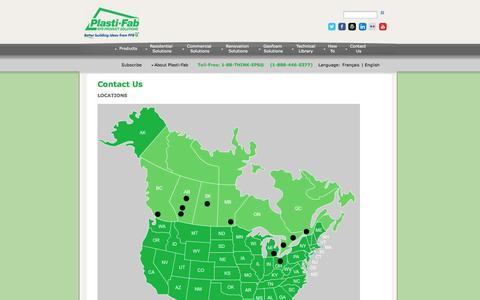 Screenshot of Locations Page plastifab.com - Plasti-Fab Expanded Polystyrene (EPS) Product Solutions - captured Oct. 2, 2014