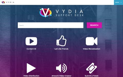 Screenshot of Support Page vydia.com - Vydia - captured Nov. 3, 2015
