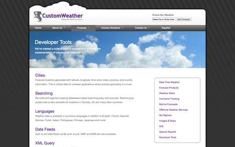 Screenshot of Developers Page customweather.com - CustomWeather Developer Tools - XML, Weather Icons, Search, Geocoded Locations - captured Oct. 3, 2014
