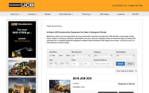 Screenshot of Products Page mackinnonjcb.com - In-Stock JCB Construction Equipment for Sale in Georgia & Florida - captured Nov. 11, 2018