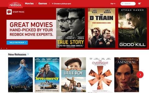 Screenshot of Home Page redbox.com - Rent Movies Online - DVDs, Blu-Ray™ & Games | Movie Rentals at Redbox - captured Sept. 16, 2015