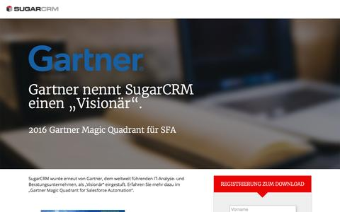 Screenshot of Landing Page sugarcrm.com - SugarCRM | Gartner Magic Quadrant für SFA - captured April 4, 2017