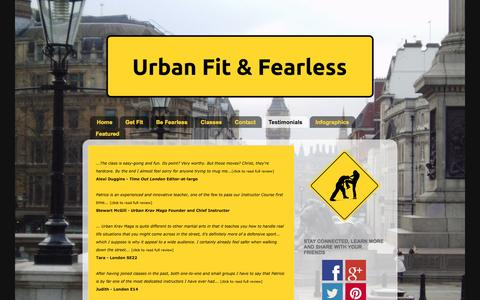 Screenshot of Testimonials Page urbanfitandfearless.com - Personal Protection at its best   Urban Fit & Fearless - captured Oct. 7, 2014