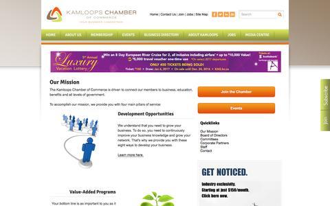 Screenshot of About Page kamloopschamber.ca - Our Mission - Kamloops Chamber of Commerce | Kamloops, BC - captured Nov. 27, 2016