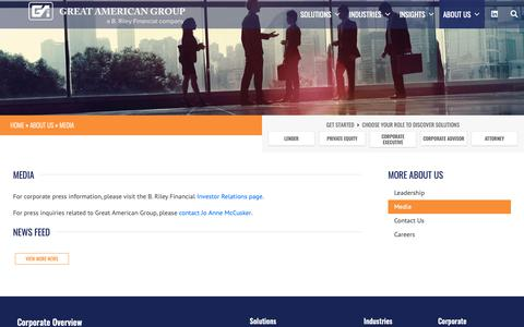 Screenshot of Press Page greatamerican.com - Media • Great American Group - captured Sept. 30, 2018