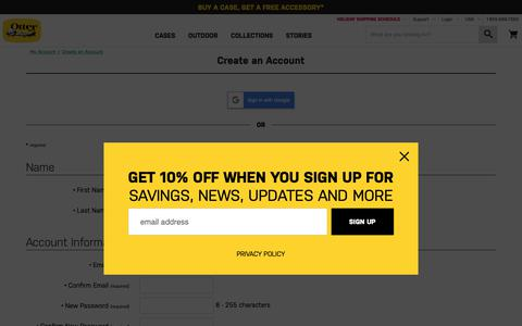 Screenshot of Signup Page otterbox.com - Account Registration | OtterBox - captured Dec. 11, 2018